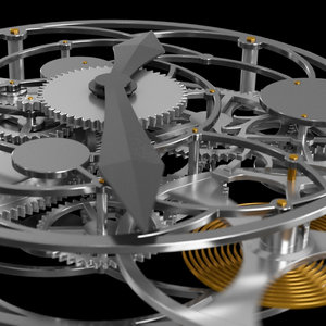 3D model animation clock clockwork