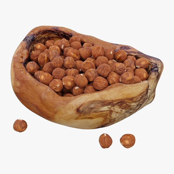 realistic hazelnuts bowl 3D model