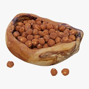 realistic hazelnuts bowl 3D model