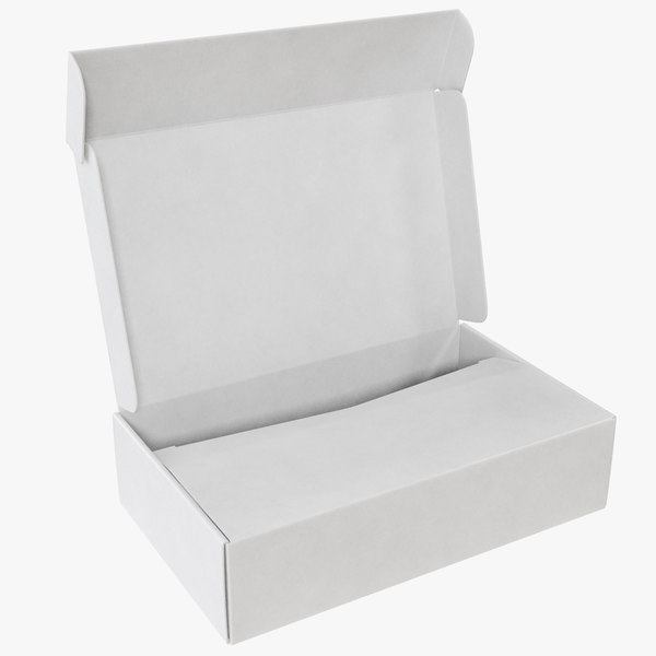 white cardboard box model