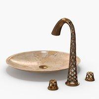 3D copper faucet sink