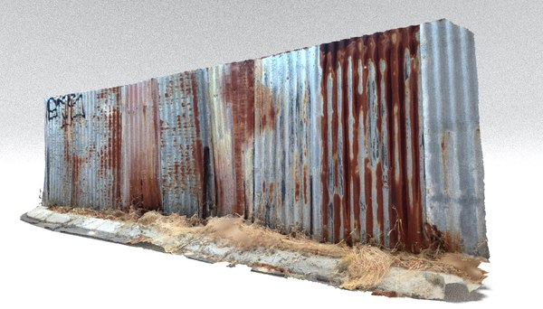 rusty metal fence 3D model