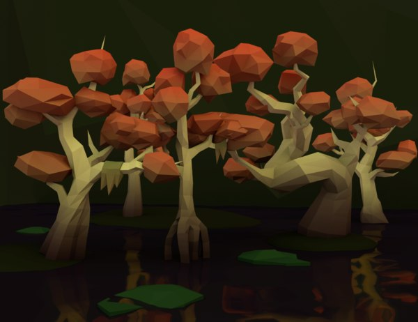 trees swamp pack 3D model