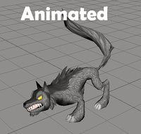rigged wolf animations 3D model