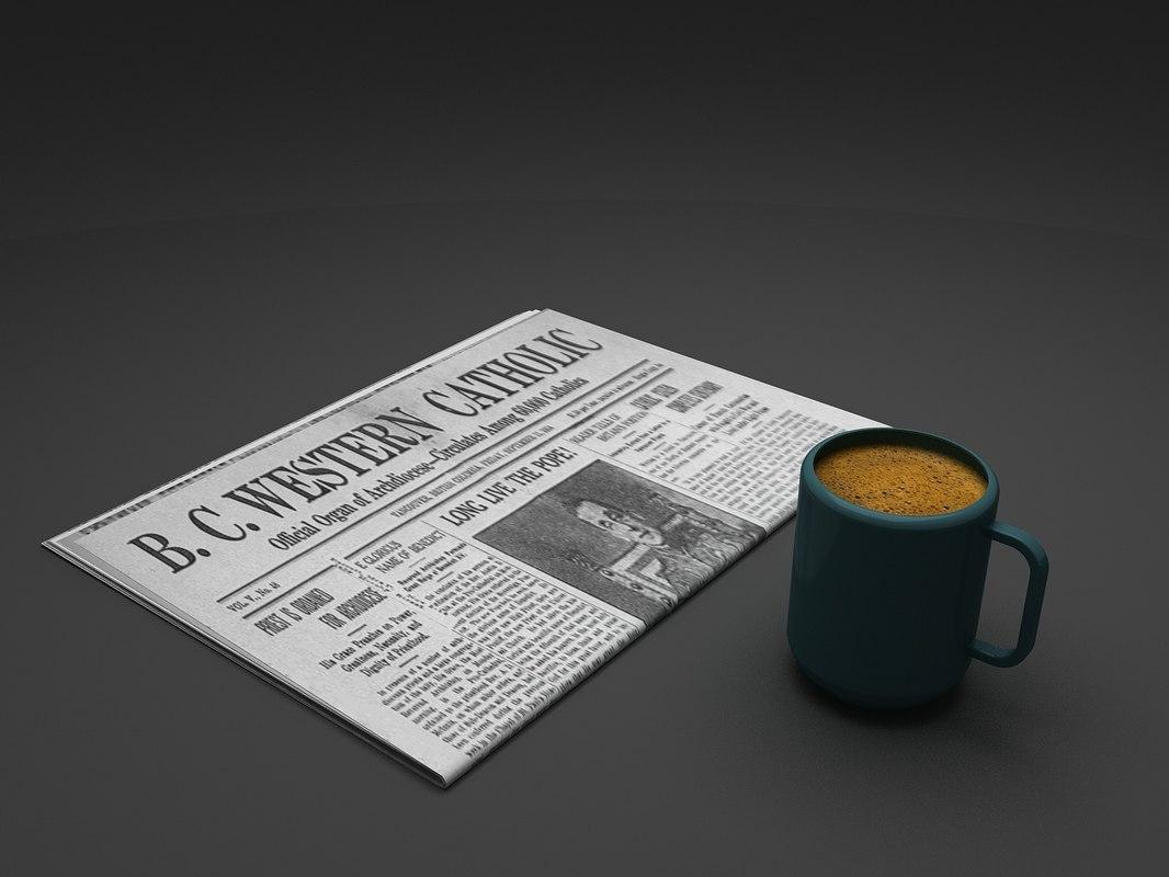 coffee newspaper 3D model