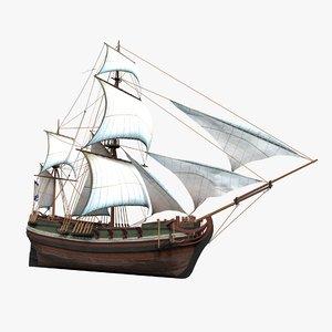 3D ship sailboat boat