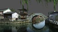 Ming Dynasty - Riverside stone bridge scene