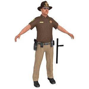 sheriff man gun 3D model