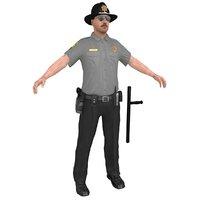 3D model sheriff man gun