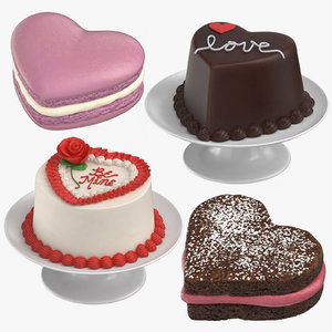 3D heart shaped desserts