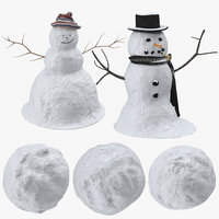 snowmen snowballs 3D model