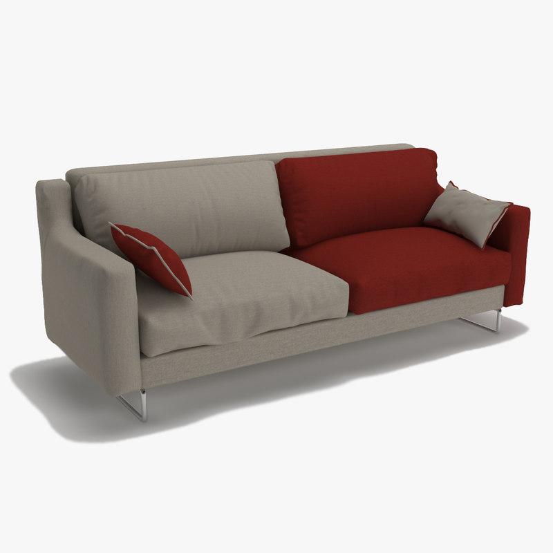 3D triple sofa double colour