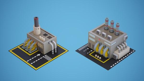 set low-poly factories model