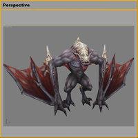 Low poly 3D Monster - Bone Bat 02