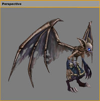 Low poly 3D Monster - Bone bat