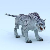 Low poly 3D Monster - White Spotted Tiger