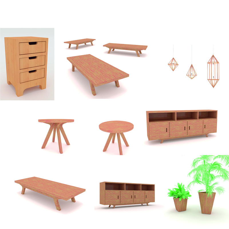 wooden wood simple 3D model