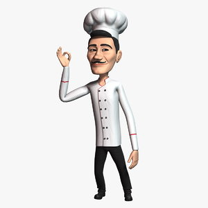 cartoon chef 3 rigged character 3D model