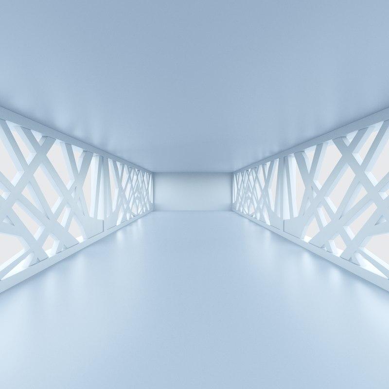 sci fi corridor 3D model