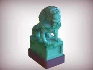 statue lion chinese 3D model