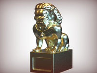 statue chinese lion 3D model