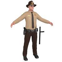 3D sheriff man gun