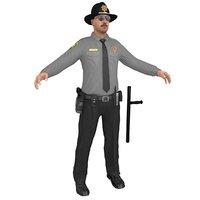 3D sheriff man gun model
