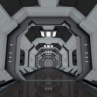 3D scene spaceship corridor