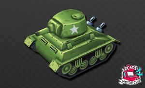 hand painted cartoon ww2 tank 3D model
