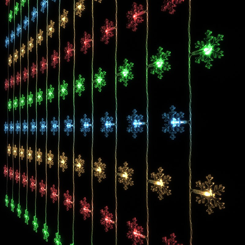 3D led garland form snowflakes model