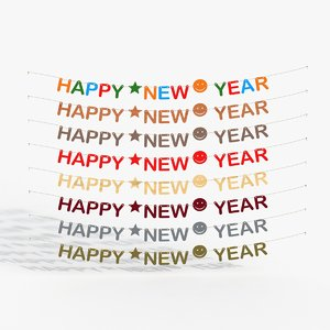 happy new year letters 3D model