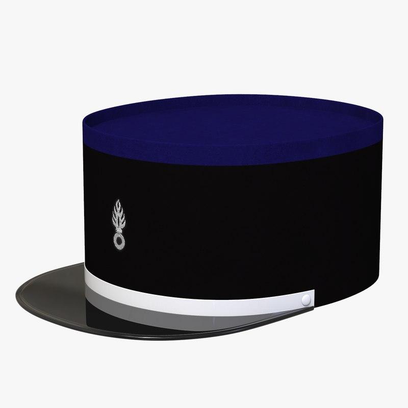 3D french officer cap model