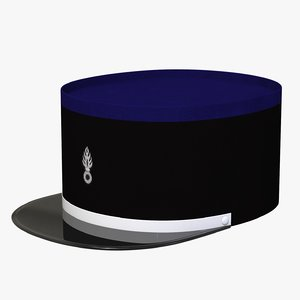 3D french officer cap model