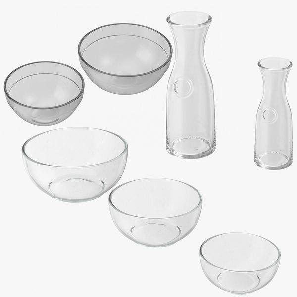 glass bowls garafes 3D