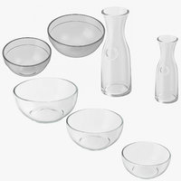 glass bowls garafes 3D
