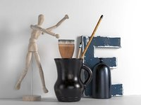 wooden mannequin brushes pitcher 3D
