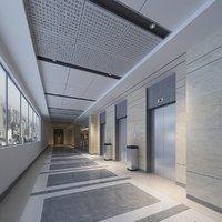 3D elevator lobby scene