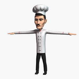 3D cartoon chef 3 character