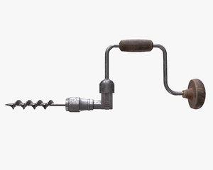 3D vintage hand drill model