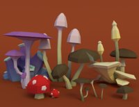 Mushroom Pack Low Poly Assets