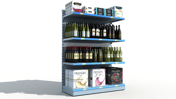 3D model supermarket shelves wine