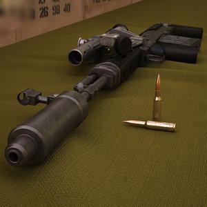 3D dragunov svu gun model