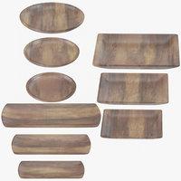 wooden serving plates 3D