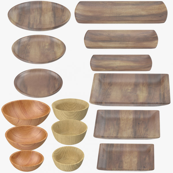 wooden serving plates bowls 3D model
