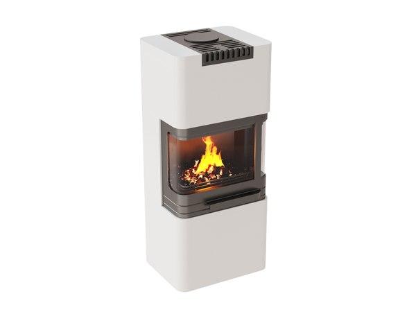 3D fireplace 01 wood flames model