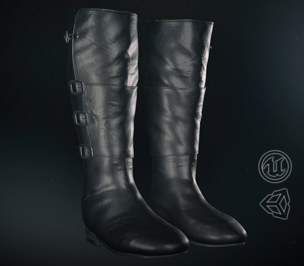3D model black leather boots 1