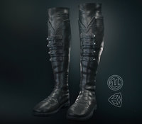 Black Leather Boots 3 PBR