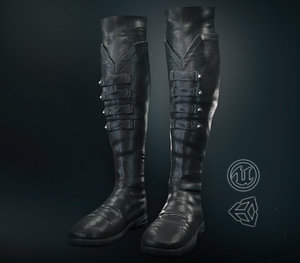 black leather boots pbr 3D