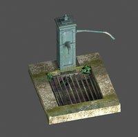 3D victorian hand water pump model