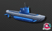 hand painted submarines sub 3D model